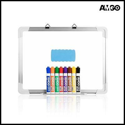 Amgo 15 x 12 Inches Magnetic Dry Erase Board Whiteboard with 8 Colors Markers