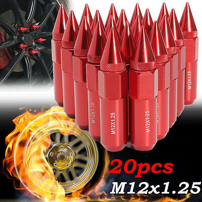 20Pcs Red Aluminum M12X1.25 Car Wheels Rims Lug Nuts Spiked Extended Tuner 60mm