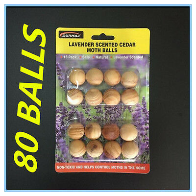 80X Wooden Moth Balls Lavender Scented Cedar Moth Ball Clothes Cupboard Protect