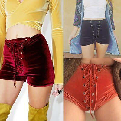 AU Velvet Shorts Women Lace Up Bandage Short Pants High Waist Pants Casual Chic