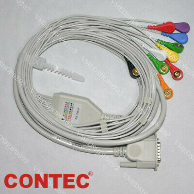ECG EKG Cable 12 lead wire Gilding Snap DB15 For ECG100G/300G Electrocardiograph