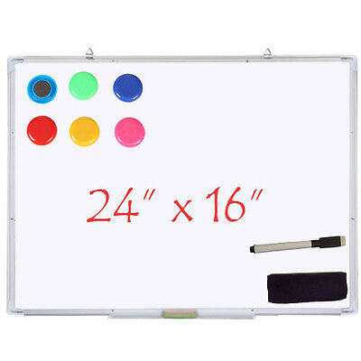 "24x16""Magnetic Writing Office School Whiteboard Dry Wipe Erase Single Side Board"
