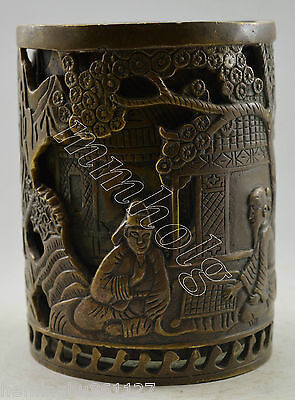 Collectible Decorated Old Handwork Copper Elder Play Chess 2 Layer Brush Pot
