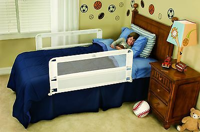 Hide Away Double Sided child Bed Rail toddler regalo safety twin White NEW