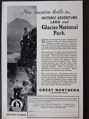 Vintage 1927 Ad (E11)~Great Northern Railway To Glacier National Park
