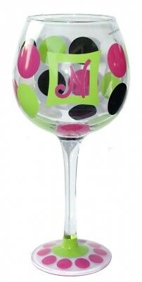 Mud Pie Initial Wine Glass N. Free Delivery
