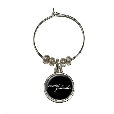 Sweetest Godmother on Black Wine Glass Charm Drink Stem Marker Ring. Brand New