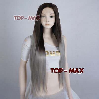 Long Straight Women Lace Front 26 Inches Dark Brown Mixed Grey Wig Perruque