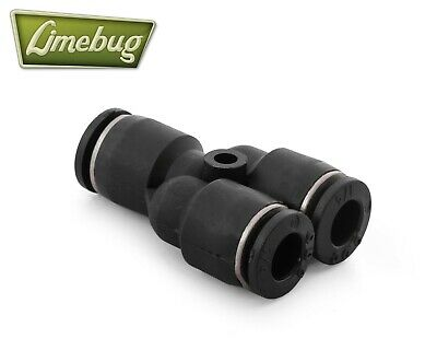 "Push Lock Y-Piece 1/4"" Air Ride Connector PTC Airlift Fitting DOT Line Adapter"