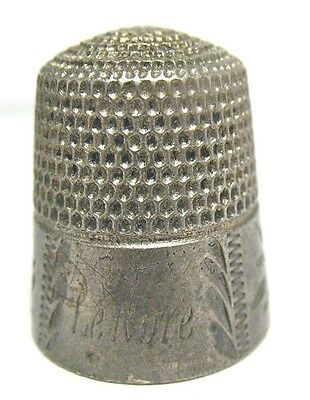 """Antique Sterling Silver Thimble """"lenore"""" Size 12  6/22/17 #21  5.7 Grams"""