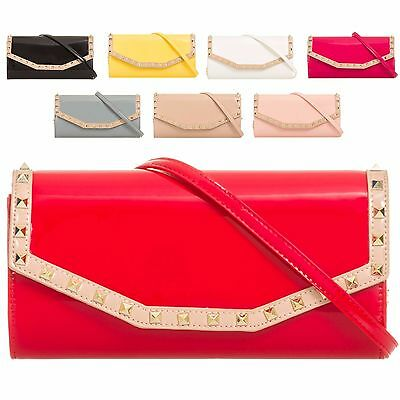 Ladies Faux Patent Studded Envelope Clutch Bag Bridal Handbag Purse Wallet KL875