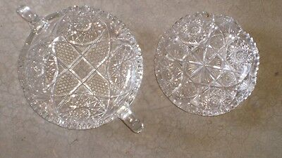 2 Antique Cut Crystal Glass Bowls
