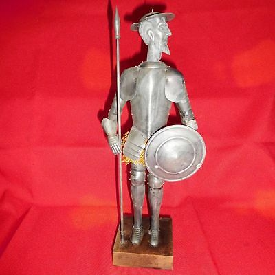 Great Vintage Metal Don Quixote Figurine With Shield, Spear And Armor