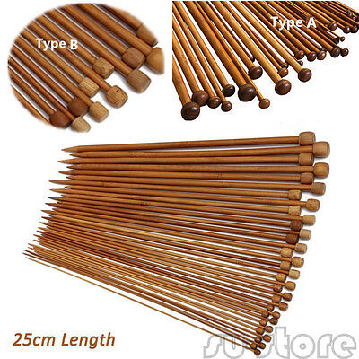 36Pcs/ Set 18sizes Carbonized Smooth Bamboo Single Pointed Knitting Needles SU