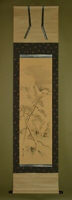 Hanging Scroll Japanese Painting Winter Snow Landscape Picture Asian Art ink z59
