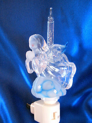 "ANGEL NIGHT LIGHT BUBBLER With Original Box By Roman Lights - Beautiful!  ""FS"""