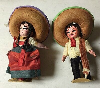 FOLK ART MEXICAN PAPER MACHE DOLL Lot Of 2 Dolls