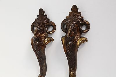 Pair of Gorgeous French 19th C Rams Head Gilt Bronze leg Decorations