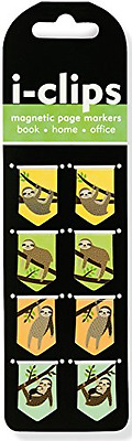 Sloths i-Clips Magnetic Page Markers (Set of 8 Magnetic Bookmarks)