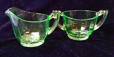 Vintage Vaseline Glass Creamer & Open Sugar Dish~ Green Depression Glass