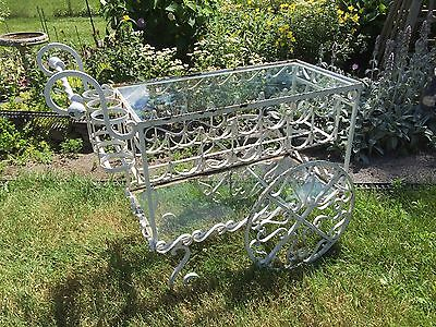 Vintage Glass Wrought Iron Wine Garden Cart Shabby Cottage ~ Western New York