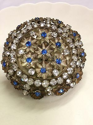 Antique Sapphire Blue And Clear Rhinestone Hat Pin Brass Prong Set Floral Lovely