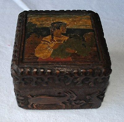 Antique Russian Wooden Carved / Painted Box Folk Art