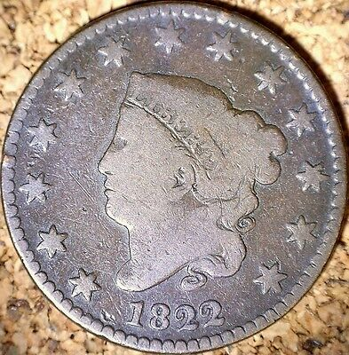 1822 Large Cent - GOOD+  CORONET HEAD, RAW COIN  (G244)