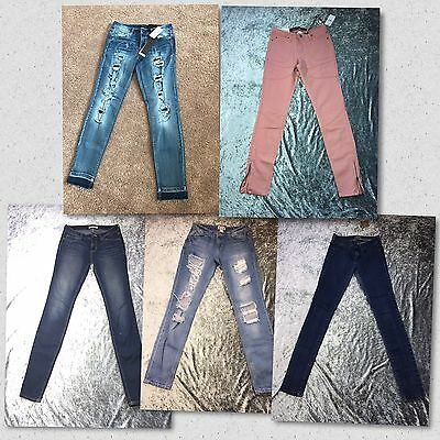 Junior Jeans Skinny Distress Denim 5 Pairs/Size 3 Multi Color LOT BACK TO SCHOOL