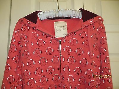 Aeropostale Girls Pink Long Sleeve Monkey Pullover Hoodie Size Medium