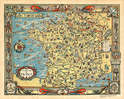 Story Map of France 1936 75cm x 59.5cm High Quality Art Print