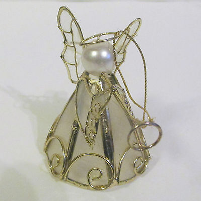 """Metal And Capizi Shell  Angel Figurine With Trumpet  Christmas Ornament    3 """""""