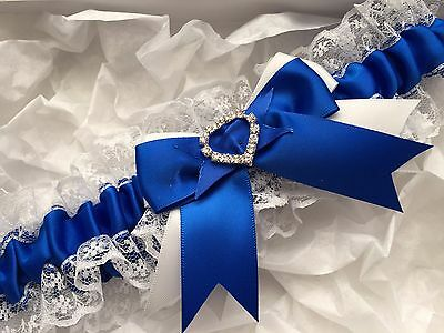 Wedding Garter White And Royal Blue Lace Satin Heart Diamante Crystal