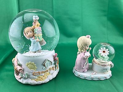 LOT OF 2 Precious Moments Snowglobes Jingle Bells