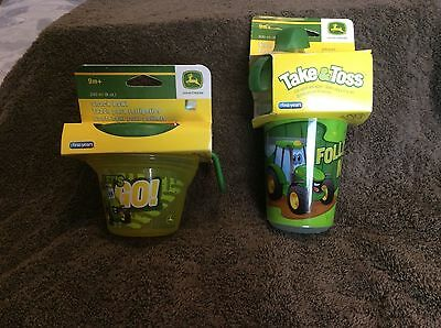New !!!   John Deere Brand   Kids Snack Bowls (2)  &  Sippy Cups (3)