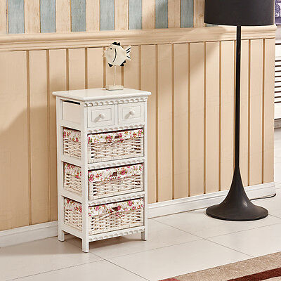 New White Wicker Storage Cabinet Bedside Table Chest of Drawers Cupboard Bedroom