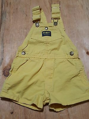 Oshkosh vintage yellow vestback short orveralls size 4