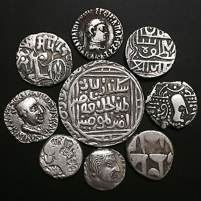Lot Of Ancient & Old Silver Islamic Coins & Sassanian,Mughal,Greek Roman,India#2