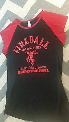 Fireball Cinnamon Whisky Womans Large TShirt Dragon Baseball tastes like heaven