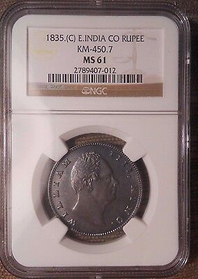 1835 East (British) India Company Silver Rupee  William IV  NGC MS61