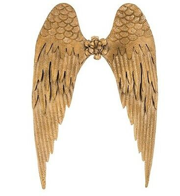 Large Metal Angel Wings Distressed Gold Vintage Wall Decor Shabby Chic 26x18 New