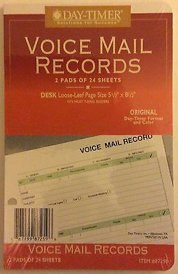 Day Timer Desk Size 7 Ring Voicemail Record Refills, 48 Pages 1996 #87259 NEW