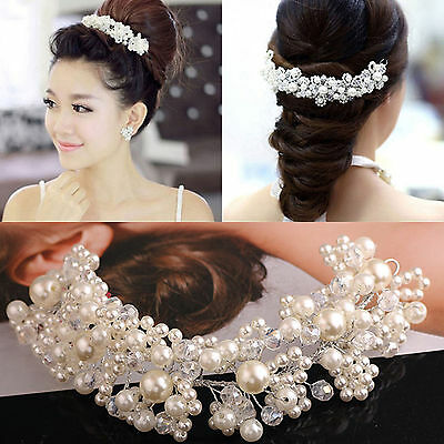 New Pearl Flower Crystal Rhinestone Wedding Bridal Headband Clip Hair Band Tiara