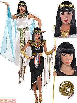 Adult Cleopatra Costume + Wig Egyptian Queen Fancy Dress Ladies Womens Outfit