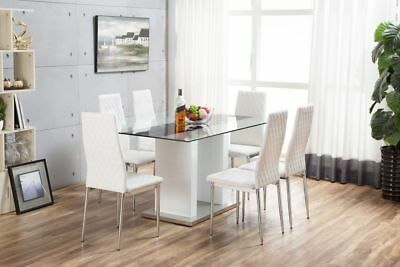 FLORENCE White High Gloss Chrome Glass Dining Table Set & 6 Leather Chairs Seats