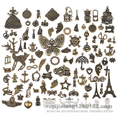 90pcs Antique Vtg Old Look Bronze Skeleton Charm Fancy Heart Bow Pendant Jewelry