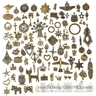 96pcs Antique Vtg Old Look Bronze Skeleton Charm Fancy Heart Bow Pendant Jewelry