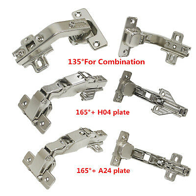 165/135Corner Folden Kitchen Cabinet Hidden Flush Door Hinges Combination Nickel
