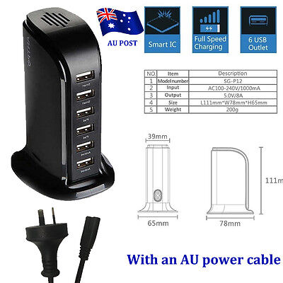 30W 6A 6 Port Desktop USB Rapid Charger Station Wall HUB Charging Power Cable RT