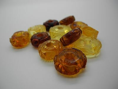 Natural Baltic engraved amber beads with 4,5mm hole
